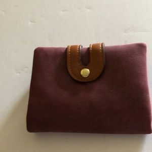 Compact NWOT maroon suede wallet/ change purse